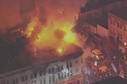 Image from ABC News of devastating fire at the corner of 22nd and Mission Streets.